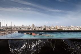 Una piscina a sfioro 'sopra' Tel Aviv